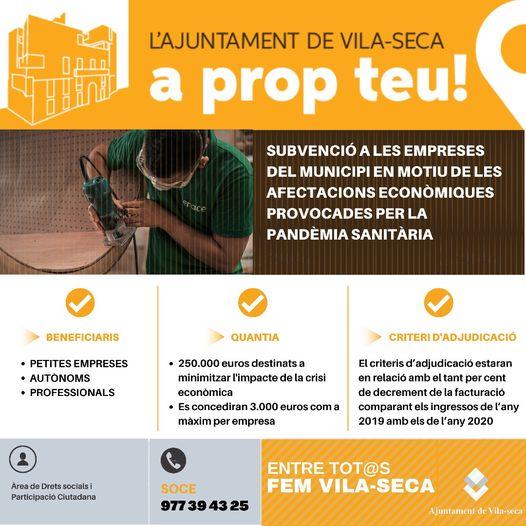 L'Ajuntament de Vila-seca destina 250.000 euros en subvencions a les empreses i autònoms del municipi