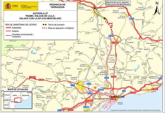 Mitma licita el contrato para redactar el proyecto del último tramo de la autovía A-27, entre Lilla y el enlace con la AP-2 en Montblanc